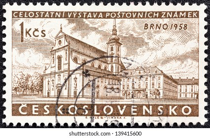 "CZECHOSLOVAKIA - CIRCA 1958: A stamp printed in Czechoslovakia from the ""National Stamp Exhibition, Brno"" issue shows St. Thomas's Church, Red Army Square, circa 1958."