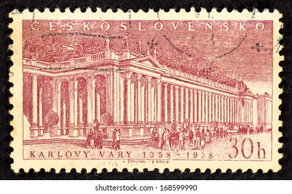 CZECHOSLOVAKIA - CIRCA 1958: Stamps printed in Czechoslovakia with image of the Thermal Spring Colonnade in the spa city of Karlovy Vary in Western Bohemia, circa 1958.