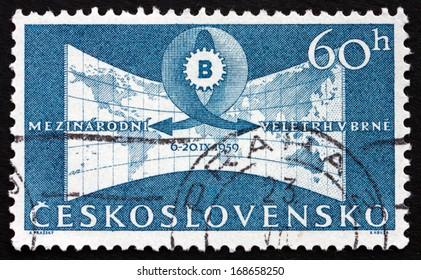 CZECHOSLOVAKIA - CIRCA 1959: a stamp printed in the Czechoslovakia shows Fair Emblem and World Map, International Fair at Brno, circa 1959