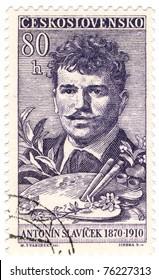 CZECHOSLOVAKIA - CIRCA 1959: A stamp printed in Czechoslovakia, shows portrait painter Antonin Slavicek, circa 1959