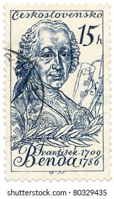 CZECHOSLOVAKIA - CIRCA 1959: A stamp printed in Czechoslovakia, shows portrait Czech violinist and composer Frantisek Benda, circa 1959