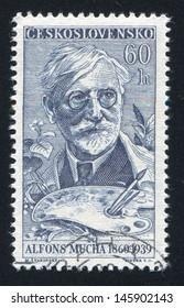 CZECHOSLOVAKIA - CIRCA 1960: stamp printed by Czechoslovakia, shows Alfons Mucha, circa 1960