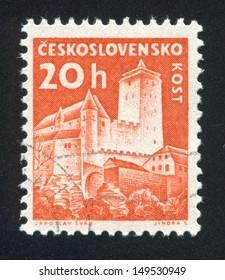 CZECHOSLOVAKIA - CIRCA 1960: stamp printed by Czechoslovakia, shows Kost Castle, circa 1960