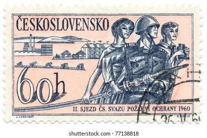 CZECHOSLOVAKIA - CIRCA 1960: A stamp printed in Czechoslovakia, shows fire fighters, circa 1960