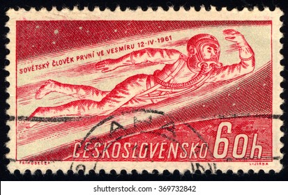 CZECHOSLOVAKIA - CIRCA 1961: A stamp printed in Czechoslovakia shows Man Flying into Space, Yuri A. Gagarin, 1st Man in Space, circa 1961