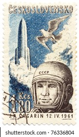 CZECHOSLOVAKIA - CIRCA 1961: A stamp printed in Czechoslovakia, shows depicted Yuri Gagarin, a pigeon and a rocket, circa 1961