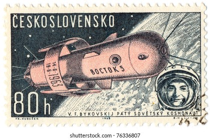 """CZECHOSLOVAKIA - CIRCA 1962: A stamp printed in Czechoslovakia, shows Soviet spaceship """"VOSTOK-2"""" , circa 1962"""