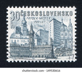 CZECHOSLOVAKIA - CIRCA 1965: stamp printed by Czechoslovakia, shows Old and new buildings, Frydek-Mystek, circa 1965