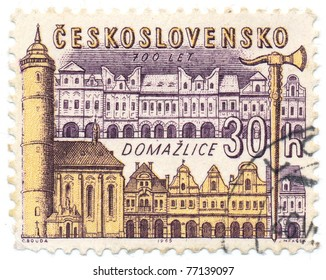 CZECHOSLOVAKIA - CIRCA 1965: A stamp printed in Czechoslovakia, shows town square Domazlice, circa 1965