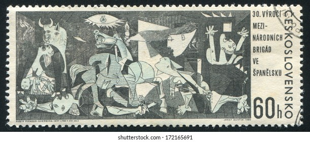CZECHOSLOVAKIA - CIRCA 1966: stamp printed by Czechoslovakia, shows ??Guernica?�� by Pablo Picasso, circa 1966