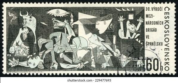 CZECHOSLOVAKIA - CIRCA 1966: stamp printed in Czech (Ceskoslovensko) show painting Guernica 1937 by Pablo Picasso; 30th anniv. of intern. brigade in Spanish civil war; Scott 1408 60h black; circa 1966