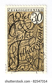 CZECHOSLOVAKIA - CIRCA 1966: A stamp printed in Czechoslovakia, shows the names of the greatest composers of classical music on the occasion of 70 years the Czech Philharmonic, circa 1966