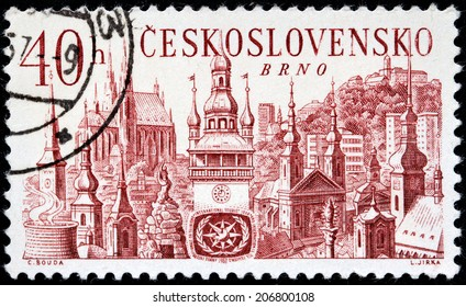 CZECHOSLOVAKIA - CIRCA 1967: a stamp printed by Czechoslovakia, shows view of Brno town, circa 1967.