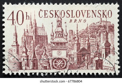 CZECHOSLOVAKIA - CIRCA 1967: a stamp printed in Czechoslovakia shows illustration of Brno, the second largest city in the Czech republic. Czechoslovakia, circa 1967