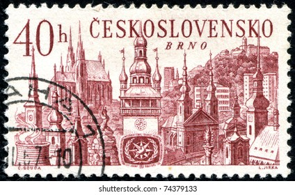 "CZECHOSLOVAKIA - CIRCA 1967: A stamp printed in Czechoslovakia shows international tourist year, with the inscription ""Brno"", series, circa 1967."