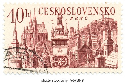 CZECHOSLOVAKIA - CIRCA 1967: A stamp printed in Czechoslovakia shows Spielberg Castle and churches, Brno, circa 1967