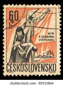 CZECHOSLOVAKIA - CIRCA 1967: A Stamp printed in Czechoslovakia shows image of Vietnamese, circa 1967
