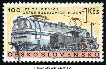 CZECHOSLOVAKIA - CIRCA 1968: stamp printed in former Czechoslovakia (Ceskoslovensko) shows steam & electric locomotives; 100th anniversary of Ceske Budejovice to Plzen (Pilsen) railroad; Scott 1557 1k, circa 1968