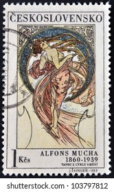 """CZECHOSLOVAKIA - CIRCA 1969: A stamp printed in Czechoslovakia shows women allegory """"Dance"""" paintings by Alfons Mucha, circa 1969"""