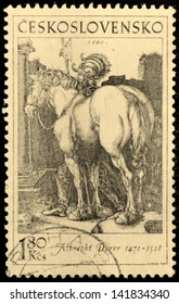 CZECHOSLOVAKIA - CIRCA 1969: A stamp printed by Czechoslovakia shows image of ancient engraving of a horse and rider, by Albrecht Durer, circa 1969.