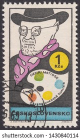 CZECHOSLOVAKIA - CIRCA 1969: A stamp printed by Czechoslovakia, shows Friendly caricature of Henri Emile Benoit Matisse, French painter.World cultural figures,circa 1969