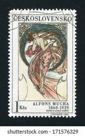 CZECHOSLOVAKIA - CIRCA 1969: stamp printed by Czechoslovakia, shows Dance by Alfons Mucha, circa 1969