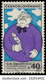 CZECHOSLOVAKIA - CIRCA 1969: Stamp printed in Czechoslovakia shows portrait of Gilbert K. Chesterton (1874-1936), English writer, circa 1969