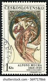 CZECHOSLOVAKIA - CIRCA 1969: stamp printed in Czech republic (Ceskoslovensko) shows dance paintings by Alfons Mucha (1860-1939), woman in see through dress; Scott 1636 A606 1k, circa 1969