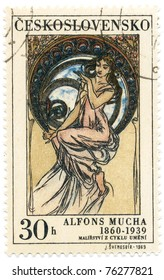 """CZECHOSLOVAKIA - CIRCA 1969: A stamp printed in Czechoslovakia, shows women  allegory """"Music"""" paintings by Alfons Mucha, circa 1969"""