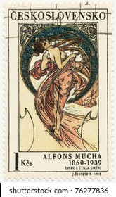 """CZECHOSLOVAKIA - CIRCA 1969: A stamp printed in Czechoslovakia, shows women  allegory """"Dance"""" paintings by Alfons Mucha, circa 1969"""