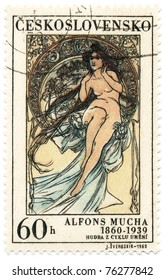 """CZECHOSLOVAKIA - CIRCA 1969: A stamp printed in Czechoslovakia, shows women  allegory """"Painting"""" paintings by Alfons Mucha, circa 1969"""