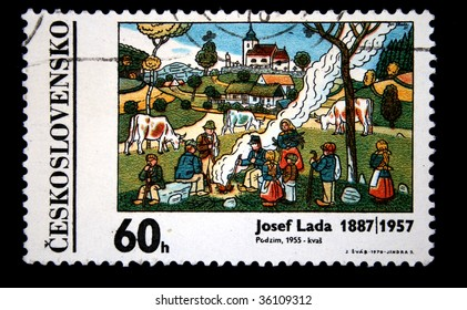 "Czechoslovakia - CIRCA 1970s: A stamp printed in Czechoslovakia shows paint by artist Josef Lada  ""Autumn"", circa 1970s"