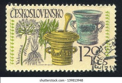 CZECHOSLOVAKIA - CIRCA 1971: stamp printed by Czechoslovakia, shows Mortars and valerian, circa 1971