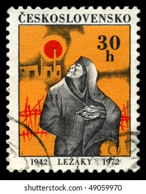 CZECHOSLOVAKIA - CIRCA 1972: A stamp dedicated to the memory of victims of Nazism in village Lezaky, circa 1972