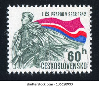 CZECHOSLOVAKIA - CIRCA 1972: stamp printed by Czechoslovakia, shows Soldier and banner, circa 1972