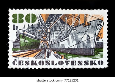 CZECHOSLOVAKIA - CIRCA 1972: A stamp printed in Czechoslovakia showing ships circa 1972