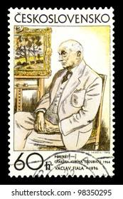 "CZECHOSLOVAKIA - CIRCA 1972: A stamp printed in Czechoslovakia shows draw ""Portrait of Otakar Kubin, 1962"" by Vaclav Fiala with the same inscription, from series ""Czechoslovak Graphic Art"", circa 1972"