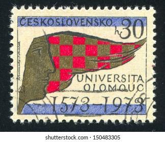 CZECHOSLOVAKIA - CIRCA 1973: stamp printed by Czechoslovakia, shows Heraldic Colors of Olomouc and Moravia, circa 1973