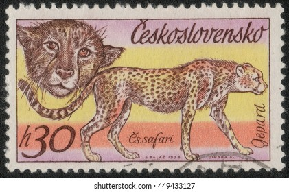 """CZECHOSLOVAKIA - CIRCA 1976: A post stamp printed in Czechoslovakia shows a series of images """"Animals of Africa"""", circa 1976"""