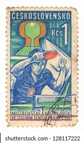 CZECHOSLOVAKIA - CIRCA 1976: A stamp printed in Czechoslovakia shows table tennis player, circa 1976