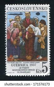 CZECHOSLOVAKIA - CIRCA 1976: stamp printed by Czechoslovakia, shows Guernica by Imro Weiner Kral, circa 1976