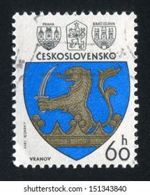 CZECHOSLOVAKIA - CIRCA 1977: stamp printed by Czechoslovakia, shows arms of Vranov, circa 1977
