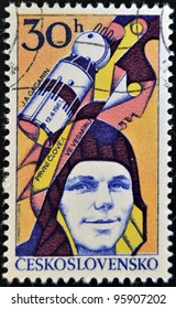 CZECHOSLOVAKIA - CIRCA 1977: A stamp printed in Czechoslovakia, shows Yuri Gagarin, Soviet cosmonaut, first man in space, circa 1977