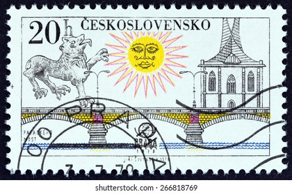 "CZECHOSLOVAKIA - CIRCA 1978: A stamp printed in Czechoslovakia from the ""PRAGA 78 International Stamp Exhibition. Prague Bridges "" issue shows Palacky Bridge, circa 1978."