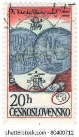 CZECHOSLOVAKIA - CIRCA 1978: A stamp printed in Czechoslovakia shows commemorative coins: 10k Coin, 1964 and 25k Coin, 1965, circa 1978