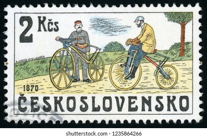 CZECHOSLOVAKIA - CIRCA 1979: post stamp printed in Ceskoslovensko (Czech) shows two men on bone shaker bicycles; bicycles from 1870; Scott 2258 A801 2k, circa 1979