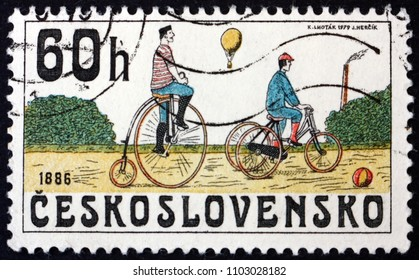 CZECHOSLOVAKIA - CIRCA 1979: a stamp printed in Czechoslovakia shows Bicycles from 1886, circa 1979