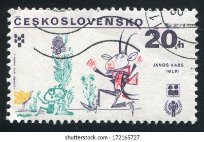 CZECHOSLOVAKIA - CIRCA 1979: stamp printed by Czechoslovakia, shows Frog and Goat, circa 1979