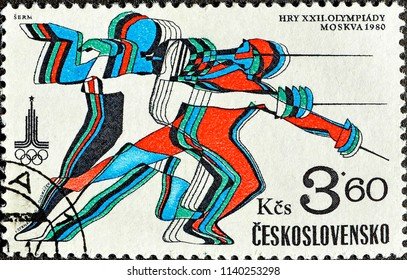 "Czechoslovakia - CIRCA 1980: Postage stamp printed in Czechoslovakia with a picture of a fencing , with the inscription ""Moscow, 1980"" from the series ""XXII Summer Olympic Games""."