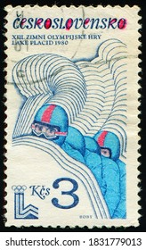 CZECHOSLOVAKIA - CIRCA 1980: stamp printed by Czechoslovak Socialist Republic, shows Four-man bobsled, Olympic Games 1980 - Lake Placid serie, circa 1980